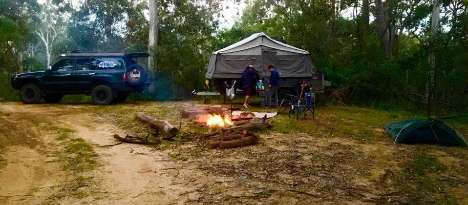 Bushmans Retreeat camper trailer and swag camp setup